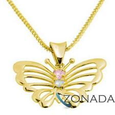 Pink Gemstone 9ct Solid Yellow Gold BUTTERFLY Pendant 64635/CZP
