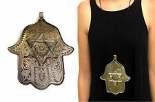 Khamsa Hamsa Hand ✡ Star of David ✡ Lucky Charm Amulet Pendant Metalwork XL