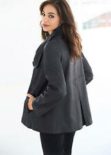 Soft and Supple Pewter Grey Leather Swing Coat Size 14 -16 NEW