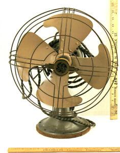 General Electric Oscillating Fan 1930's Art Deco Vortalex Blade 12 inch 3 Speed