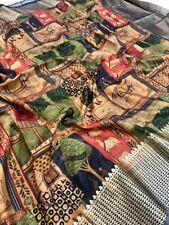 Semi Handloom Linen Chanderi Kalmkari Saree -Beautiful Gold Foil Work,Animal Pri