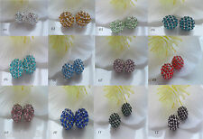 6 Shamballa Perlen Beads Strass Kugel Metall Fassung bunt 10mm für Armband DIY