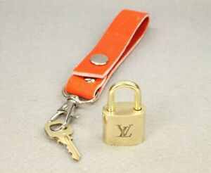 Authentic LOUIS VUITTON Gold Padlock Lock & Key Set # 323