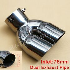 "Universal 2.99""  76mm Inlet Rear Muffler Dual Outlet Tail Exhaust Tip End Pipe"