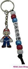 Handmade Personalised Name Mario Themed Keyring School Bag Tag Charm