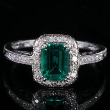 Solid 14K White Gold Pave 7X5mm Treated Emerald Natural SI/H Diamond Fine Ring