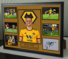 DIOGO JOTA WOLVES A4 Framed Canvas Tribute Print  Signed