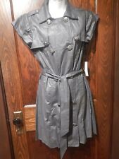VERTIGO PARIS Anthropologie pewter metallic trench coat dress belted jacket L 1A