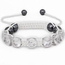 Iced Out Unisex Bracelet - PRONG SHAMBALLA blanc