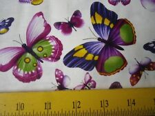 """SALE Timeless Treasures Fabrics Butterflies """"Viola"""" on White for Spring 18"""""""