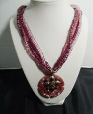 """Beaded necklace & Pendant varying shades of purple 16"""" + 4"""" extender"""