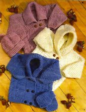 baby childrens boys girls cardigans hat and mittens aran knitting pattern 179