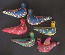 Vintage Mexican Folk Art Clay Birds Pottery CON5