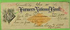 Used Check, Farmers National Bank., Danville, KY, 1901, with Revenue Imprint.