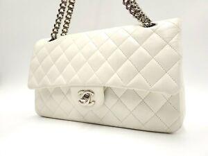 Auth CHANEL CC Matelasse 25 Single Flap W Chain Shoulder Bag Lambskin White 5819