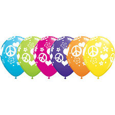 "**QUALATEX** Pack of 12 -11"" Round Peace Signs & Heart Latex Balloons!"