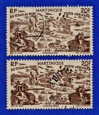 Martinique (Chad to Rhine) 1946 Lot of 2 Scott C7 Airmail Stamps 20f Value Used