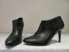 NEXT BLACK LEATHER HIGH HEEL SHOE BOOTIES BOOTS UK 6.5 EU 40 (3191)