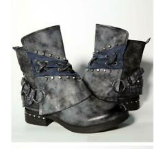 Retro Womens Cowboy Buckle Studded Ankle Slouch Boots Army Biker Combat Shoes