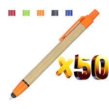 Lot 50pcs Green Concept ECO Ball Pen Stylus,2 in 1 Phone Touch Screen Paper Pen