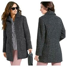 Witt Kaleidoscope Plus Size 22 Charcoal Grey Mottled Zip Front Boucle COAT £120