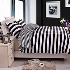 Funda Colcha queen negro blanco raya almohada de cama dormitorio 3 piezas
