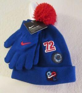 NWT Nike Boys Patch Play Cuffed Pom Hat & Gloves 2-Piece Set 4/7 Game Royal $25
