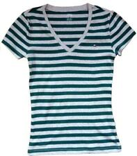 Womens TOMMY HILFIGER Green Stripe Deep V Fitted Short Sleeve T-Shirt Size XS