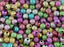 Krepp-Perlen 100 Stardust-Perlen 6 mm hellgold Dekoperlen// Glitzerperlen