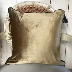 Old Gold Velvet Piped Cushion Cover