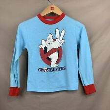 Vintage 1989 Youth Boys MED Ghostbusters Blue Long Sleeve Ringer Crew Neck Shirt