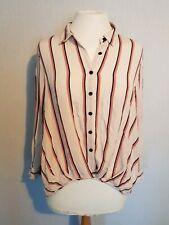 Mint Velvet Pink Mix Striped Blouse Shirt Long Sleeved Size 12 uk