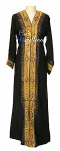 Golden Nidha Abaya with Highly Detaied Design - Arab Jilbab Kaftan Dress Kimono