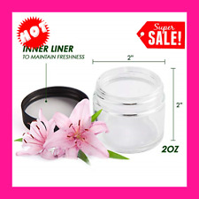 2 Oz Glass Jars with Lids, Small Clear Glass Container with Black Plastic Smooth