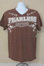 NEW Mens Graphic T-Shirt Small Short Sleeve V-Neck Top Fearless Ride Hard Biker