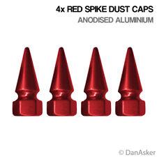 4x Red Spike Auto Moto Motocicleta Bmx Rueda Neumático Válvula De Aluminio Tapas de polvo
