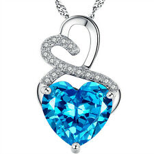 Mabella PWS001CT 925 Sterling Silver Heart Shaped 12mm x 12mm Blue Topaz Pendant