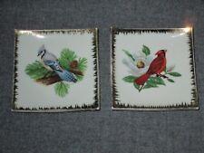"2 Lot Bradley Japan Porcelain Ceramic 3 3/4"" Blue Jay  Red Bird Plaque Plate"
