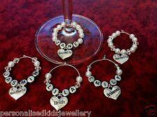 HENS NIGHT / WEDDING PARTY WINE GLASS CHARM *ANY NAME* Wedding glass BRIDE GROOM