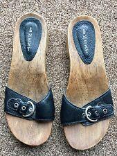 Next Ladies Wood Clog Open Toe Black Mule Sandal Size 5