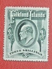 FALKLAND ISLANDS 1904/12 EDVII 3/- GREEN FINE LMM SG49