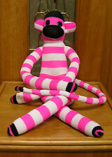 "27"" Hot Pink Striped Sock Monkey Hand Made New Plush Stuffed unique OOAK"