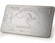 Australia 1 Troy Oz .999 Pure Titanium Kangaroo Art Bullion - UNCIRCULATED