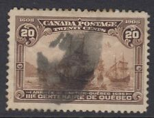 CANADA :1908 Quebec Tercentenary 20c dull brown  SG 195 used-'thumbprint' cancel