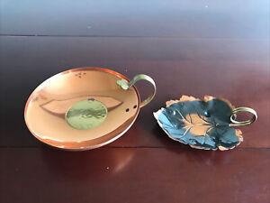 Vintage Coppercraft Guild Lot Copper Leaf Candy/Trinket Dishes W/ Brass Handles