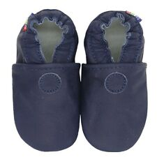 carozoo plain dark blue 5-6y soft sole leather toddler shoes