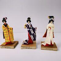 Vintage Asian Dolls Princess Merchant, Samurai Daughter Handmade  4 In Tall