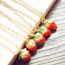 Mini Strawberry Drop Pendant Necklace Gold Chain Sweet Design Necklace