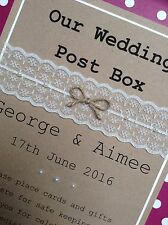Rustic Vintage Wedding Post Box Personalised Sign. Lace & Pearls. Anniversary