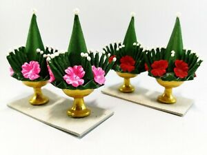 Miniature Artificial Thai Rice Offering Folded Leaf Ornament Buddha Handmade Gol